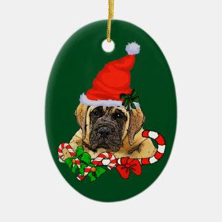 English Mastiff Christmas Ceramic Oval Ornament