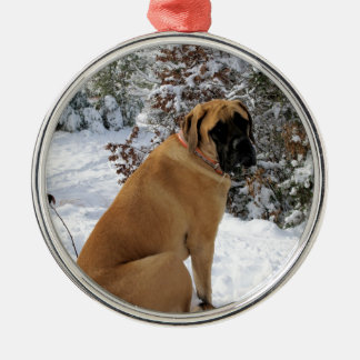 "English Mastiff dog ""Snow Pose"" photo Metal Ornament"