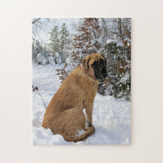 "English Mastiff dog ""Snow Pose"" photo puzzle"
