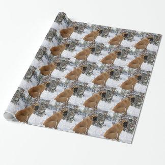 "English Mastiff dog ""Snow Pose"" photo Wrapping Paper"