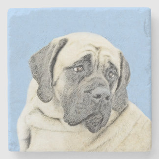 English Mastiff (Fawn) Painting - Original Dog Art Stone Coaster