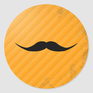 English Mustache Round Stickers
