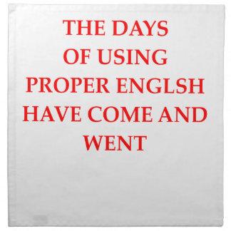 ENGLISH NAPKIN