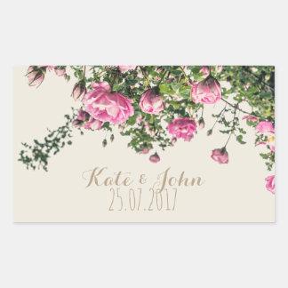 English pink roses, personalized wedding sticker