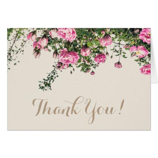 English Pink Roses, wedding thank you card