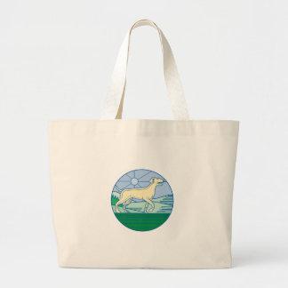 English Pointer Dog Mono Line Large Tote Bag
