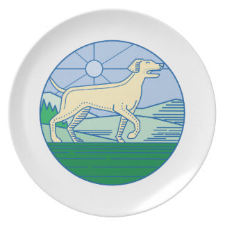 English Pointer Dog Mono Line Plate
