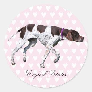 English Pointer dog stickers, gift idea Classic Round Sticker