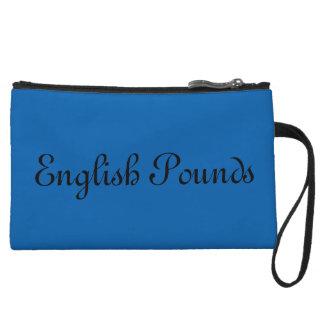 English Pounds wristlet, Blue Wristlet Purses