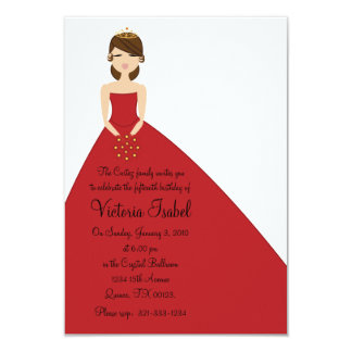 english RED PRINCESS quinceañera quince invitation