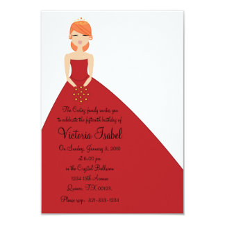 english RED PRINCESS quinceañera quince invitation
