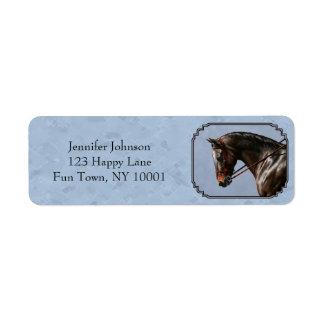 English Riding Horse Sky Blue Return Address Label