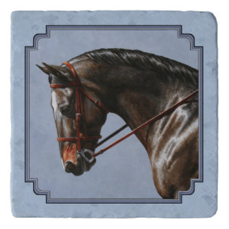 English Riding Horse Sky Blue Trivet