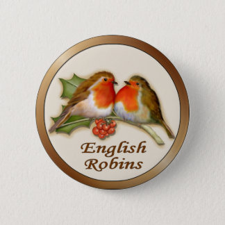 English Robins 2 Inch Round Button