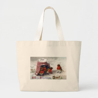 English Robins Shelter Under Flowerpot Vintage Large Tote Bag
