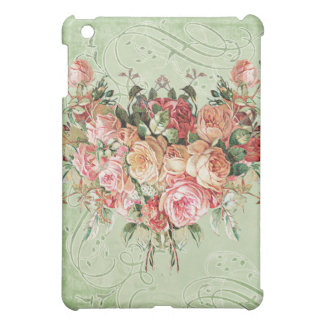 English Rose Bouquet, Vintage n Modern Swirl Leaf Cover For The iPad Mini