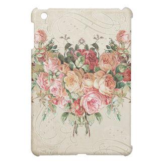 English Rose Bouquet, Vintage n Modern Swirl Leaf iPad Mini Cover
