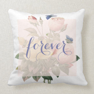 English Rose Butterfly Garden Wedding  Forever Throw Pillow