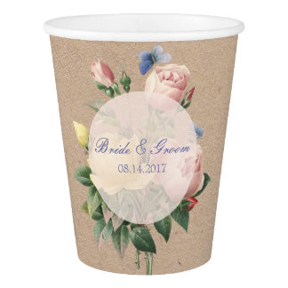 English Rose Butterfly Garden Wedding Paper Cup