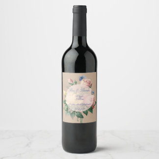 English Rose Butterfly Garden Wedding Wine Label