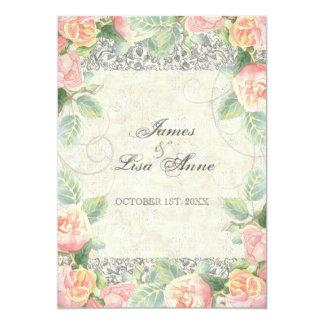 English Rose, Peach & Silver Wedding Invitation