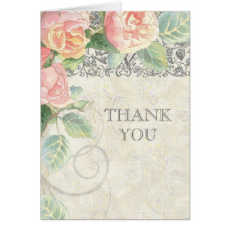 English Rose & Silver Thank You Notes