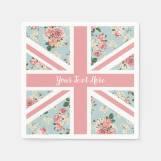 English Roses Union Jack Flag Paper Napkins