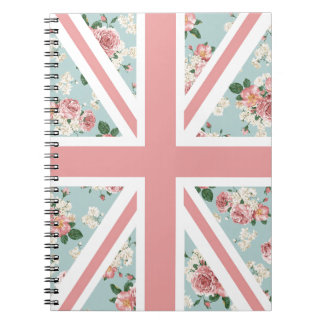 English Roses Union Jack Flag Spiral Notebook