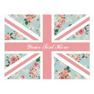 English Roses Union Jack Floral Pattern Custom Postcard
