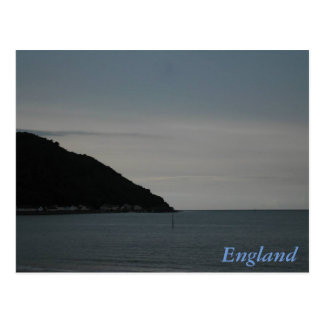 English seaside at sunset postcard