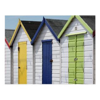 English Seaside Beach Huts Postcard