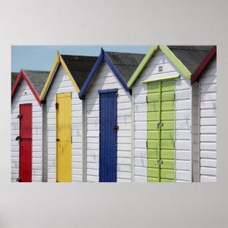 English Seaside Beach Huts Poster