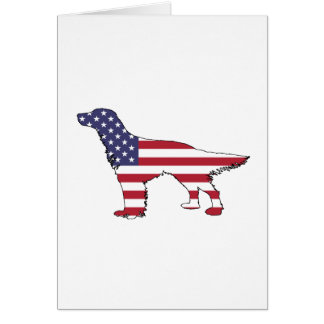 "English Setter - ""American Flag"" Card"