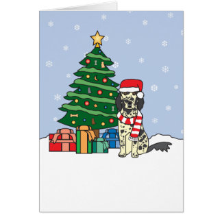 English Setter and Christmas Tree Card