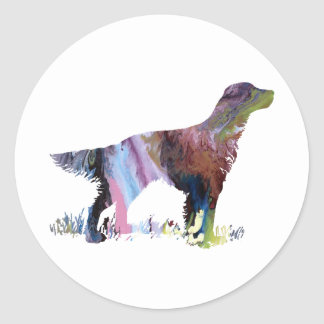 English setter art classic round sticker