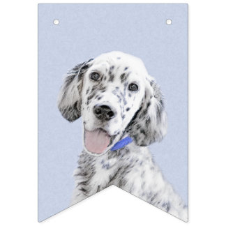 English Setter Blue Belton Painting Dog Art Bunting Flags