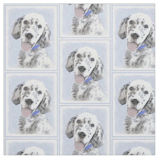 English Setter Blue Belton Painting Dog Art Fabric