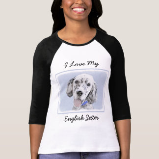 English Setter Blue Belton Painting Dog Art T-Shirt