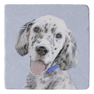 English Setter Blue Belton Painting Dog Art Trivet