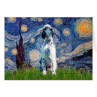 English Setter (BW) - Starry Night Card