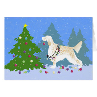 English Setter Decorating Tree in the Forest Card