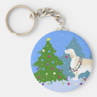 English Setter Decorating Tree in the Forest Keychain