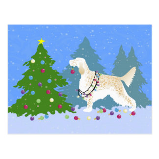 English Setter Decorating Tree in the Forest Postcard