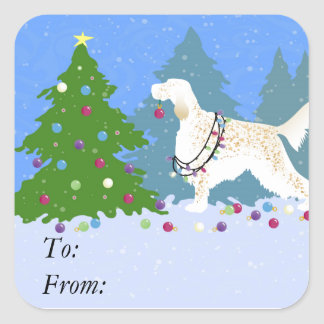 English Setter Decorating Tree in the Forest Square Sticker