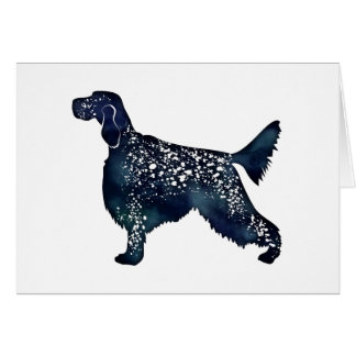English Setter Dog Black Watercolor Silhouette Card