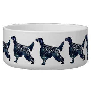 English Setter Dog Black Watercolor Silhouette Dog Water Bowl