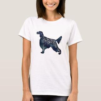 English Setter Dog Black Watercolor Silhouette T-Shirt