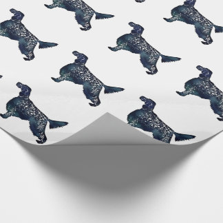 English Setter Dog Black Watercolor Silhouette Wrapping Paper
