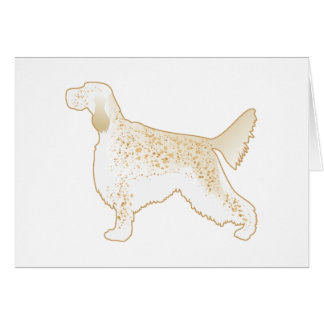 English Setter Dog Breed Illustration Silhouette Card