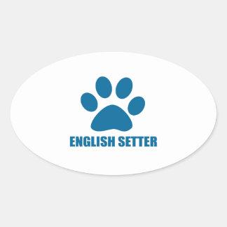 ENGLISH SETTER DOG DESIGNS OVAL STICKER
